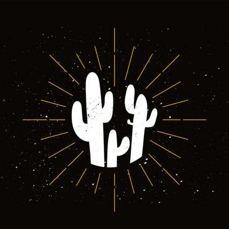 Retro prickly cacti silhouette. Mexican flora, exotic houseplant symbol. Cactus, desert barbed plant Stok Fotoğraf - 124891117