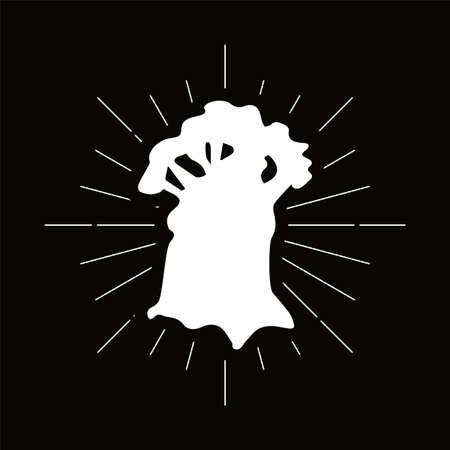 Retro baobab silhouette logo. Power sign and vintage logotype. Wild tree icon. African symbol. Vector Archivio Fotografico - 124891210