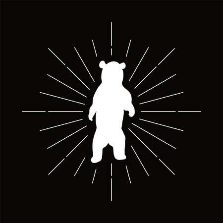 Retro standing bear silhouette logo. Nature sign and vintage logotype. Wild animal icon. Zoo or reserve symbol. Vector Archivio Fotografico - 124891220