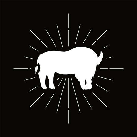 Retro standing bison silhouette logo. Nature sign and farm vintage logotype. Wild buffalo icon. Zoo or reserve symbol. Vector Archivio Fotografico - 124891224