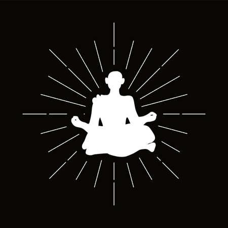 Retro hermit silhouette logo. Monk sign and vintage logotype. Meditation icon. Yoga symbol. Vector