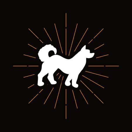 Retro dog silhouette. Domestic animal symbol. Pet shop vector logo. Spitz, Husky puppy icon Illusztráció
