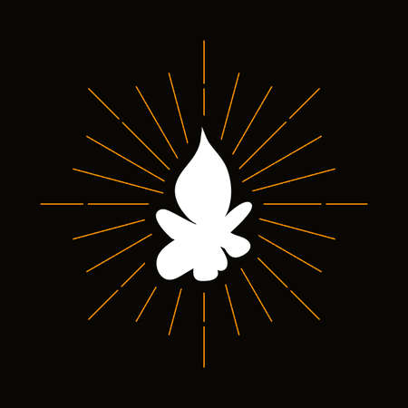 Retro campfire silhouette. Forest hiking, camping symbol. Tourism, outdoor recreation vector icon 向量圖像