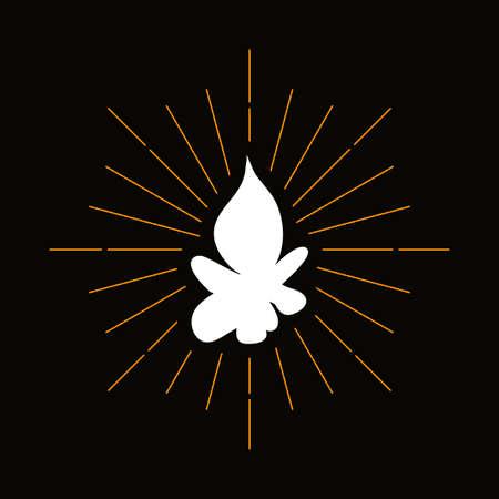 Retro campfire silhouette. Forest hiking, camping symbol. Tourism, outdoor recreation vector icon Illusztráció