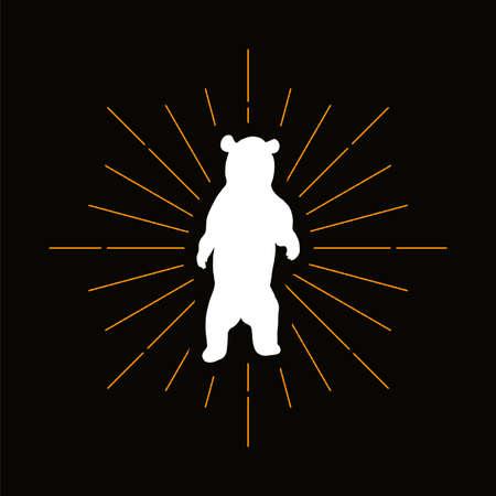 Retro grizzly bear silhouette. Dangerous predator, wild animal icon. Zoo, circus mascot vector badge