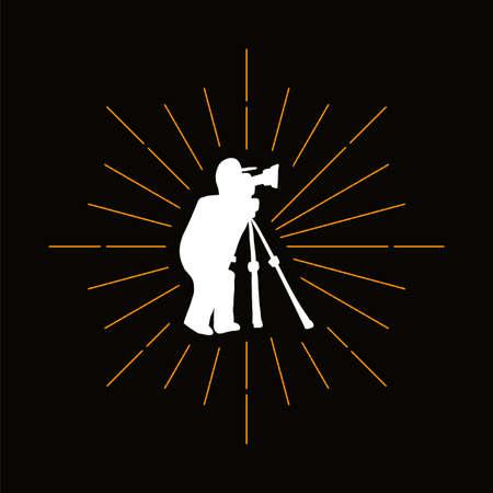 Retro photographer silhouette. Photojournalist with camera on tripod. Professional photo studio logo