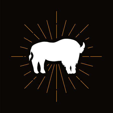 Retro wild buffalo silhouette. Horned mammal, zoo mascot icon. Corrida, cattle farm vector symbol