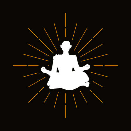 Retro buddhist monk silhouette. Yoga, fitness vector symbol. Meditation, oriental therapy, buddhism