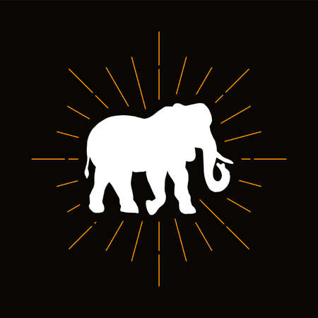 Retro elephant, mammoth silhouette. Huge exotic animal with trunk icon. African fauna vector symbol