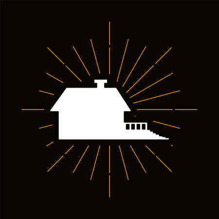 Retro country house silhouette. Building, realty sale business symbol. Real estate agency logo
