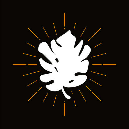 Retro monstera leaf silhouette. Philodendron, palm tree foliage vector badge. Jungle flora symbol Illusztráció