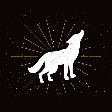 Retro howling wolf silhouette. Wild animal, dangerous predator badge. Wildlife, forest hunter icon