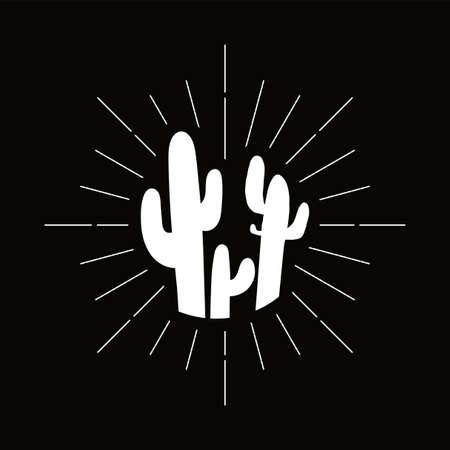 Retro prickly cacti silhouette. Mexican flora, exotic houseplant symbol. Cactus, desert barbed plant 向量圖像