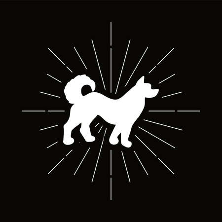 Retro dog silhouette. Shelter and protection symbol. Pet shop logo or icon. Vector Illusztráció