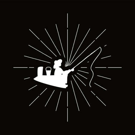 Retro duck with duckling silhouette. Domestic bird, wildfowl badge. Poultry, farm vector symbol Illusztráció