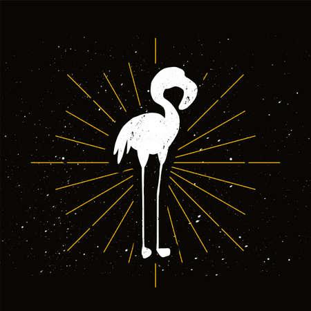 Pink flamingo silhouette badge. Exotic elegant bird vector icon. Ornithology, african fauna symbol