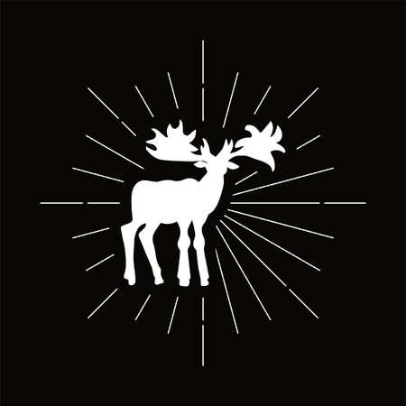 Retro canadian moose silhouette. Elk, animal with big horns icon. Hunting season vector symbol