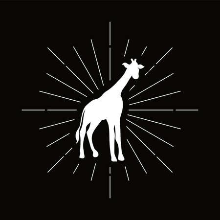 Retro giraffe, camelopard silhouette. Tall animal with long neck icon. African savanna vector symbol