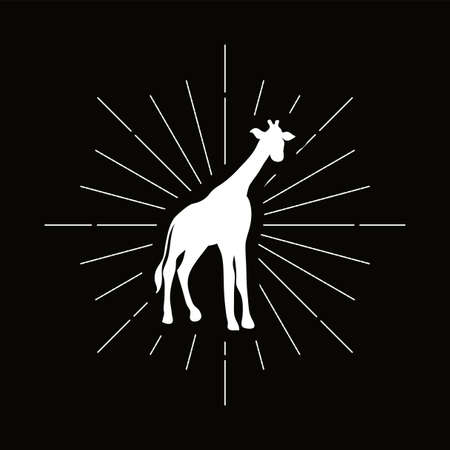 Retro giraffe, camelopard silhouette. Tall animal with long neck icon. African savanna vector symbol
