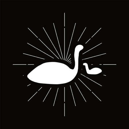 Retro plesiosaur silhouette. Ancient creatures, dinosaur badge. Prehistoric wildlife vector symbol Archivio Fotografico - 124891492