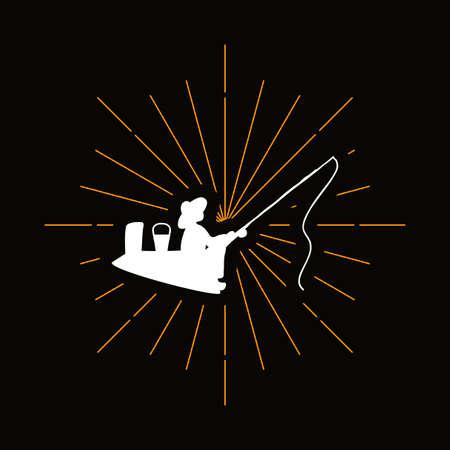 Retro duck with duckling silhouette. Domestic bird, wildfowl badge. Poultry, farm vector symbol Archivio Fotografico - 124891595