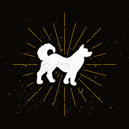 Retro dog silhouette. Shelter and protection symbol. Pet shop logo or icon. Vector 向量圖像