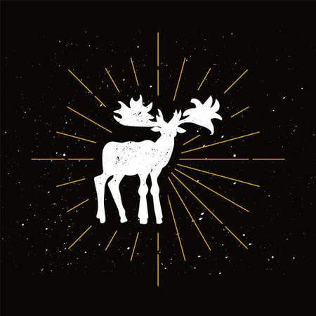 Retro canadian moose silhouette. Elk, animal with big horns icon. Hunting season vector symbol Archivio Fotografico - 124891632