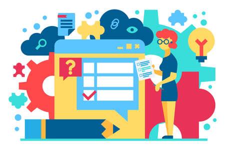 Customer support flat vector illustration. Survey, examination cartoon concept. Digital technology Banco de Imagens - 133497582