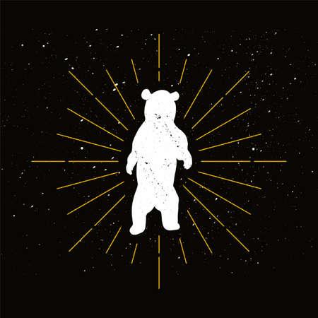 Retro standing bear silhouette logo. Nature sign and vintage logotype. Wild animal icon. Zoo or reserve symbol. Vector Illusztráció