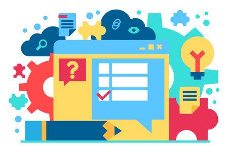 Technical support flat vector illustration. FAQ, customer service. Digital technology concept