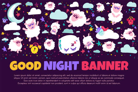 Good night banner with flat sheep. Bed time positive illustration. Starry night sky. Sweet dreams Illustration