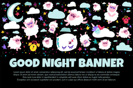 Good night banner with flat sheep. Bed time positive illustration. Starry night sky. Sweet dreams Foto de archivo - 124891660