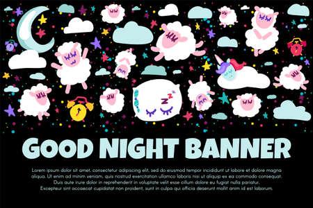 Good night banner with flat sheep. Bed time positive illustration. Starry night sky. Sweet dreams Illusztráció