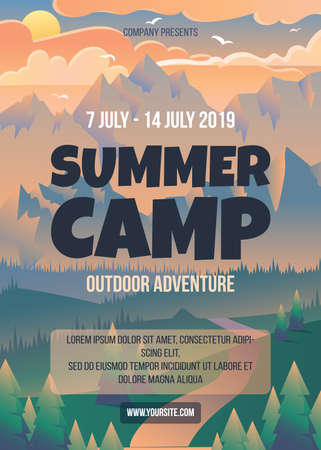 Summer camp poster template. Sunset in mountains vector illustration. Flyer, brochure page layout