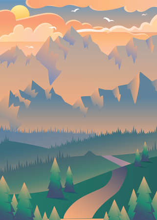 Sunset in forest vector illustration. Flying birds over mountains. Summer landscape