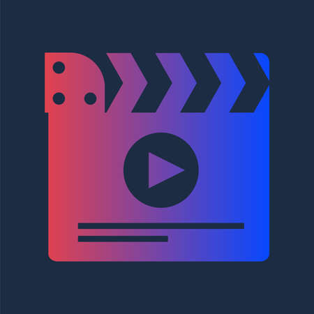 Colorful Clapper for Multimedia Production Icon. Design Element of Workflow in Cinematography Industry Closed Clapperboard. Film or Entertainment Studio Equipment Object Vector Flat Symbol Illusztráció
