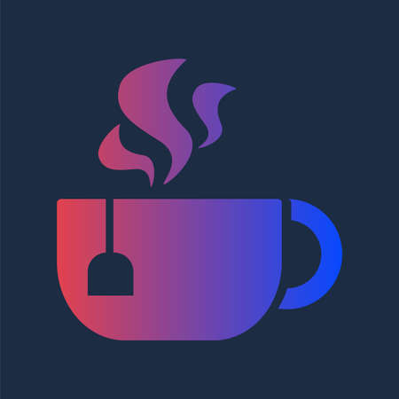 Design Morning Aroma Hot Drink in Cup Tea Icon. Colorful Drawing Ceramic Mug with Handle, Teabag Blank Label and Steam. Fresh Warm Brewed Breakfast Beverage Template Vector Flat Symbol