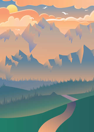 Sunset in forest vector illustration. Flying birds over mountains. Summer landscape