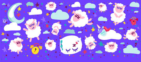 Sweet Dreams and Good Night Funny Concept Banner. White Curly Lambs and Unicorn, Clouds and Moon with Stars, Pillow and Timer on Blue Sky Background. Vector Flat Cartoon Illustration
