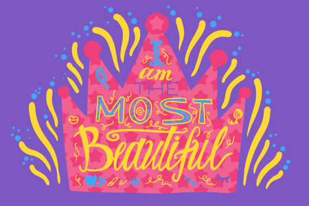 Golden Drawn Crown with Bright Fireworks Banner. Elegant Luxury Precious Authority Element of Most Beautiful Girl for Celebrating Sweet Sixteen Birthday. Princess Vector Flat Cartoon Illustration