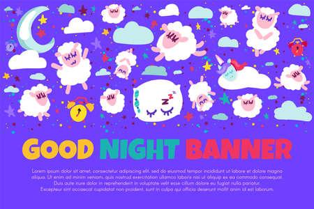 Good night banner with flat sheep Illustration