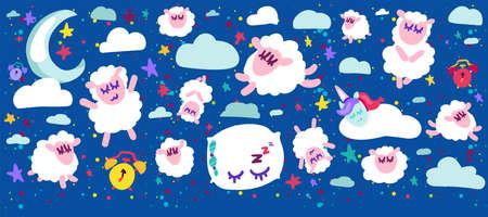 Sleeping sheep vector illustrations set Stock Vector - 129791043