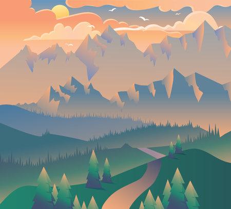 Banner di campeggio di mattina paesaggio natura foresta. Alba o tramonto serale con nuvole, uccelli su sfondo di montagne e albero verde ed erba sul poster. Illustrazione vettoriale 3d isometrica Vettoriali