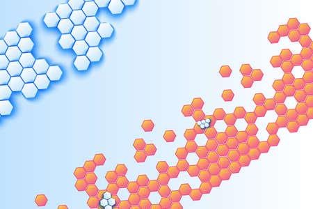 Honeycomb volumetric mosaic vector background. Blue and orange hexagonal decorative backdrop