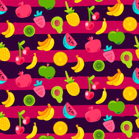 Fresh Berries Summer Fruits Mix Seamless Pattern