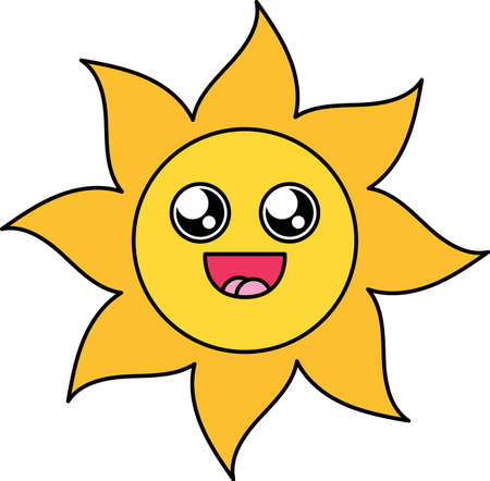 Fascinated sun sticker outline illustration 矢量图像