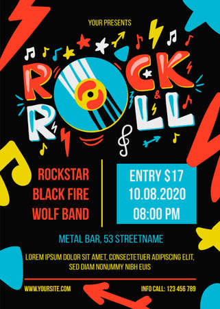 Rock and roll party vector poster template. Entertainment event web banner. Music concert brochure Ilustrace