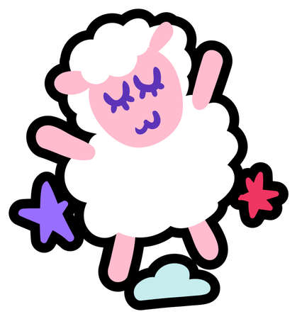 Cute little lamb flat vector illustration. Adorable sheep, poddy cartoon character. Funny mascot
