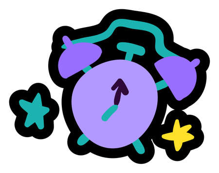 Alarm clock and stars flat vector illustration. Time management, bedtime symbol. Analog watch