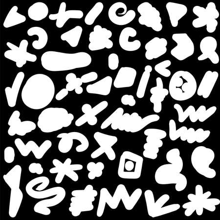 Funny Doodle Black and White Drawn Symbols Pattern. Different Abstract Monochrome Artistic Textures Shapes and Figures. Paint Objects for Packaging Material Wrapping Template Flat Illustration 向量圖像
